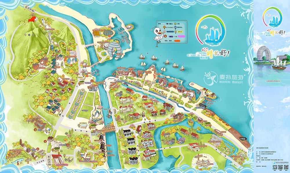 南太湖旅游手绘地图