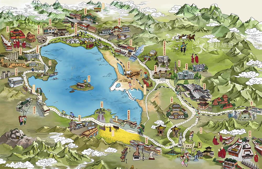 青海湖旅游手绘地图_景区_麦扑旅游