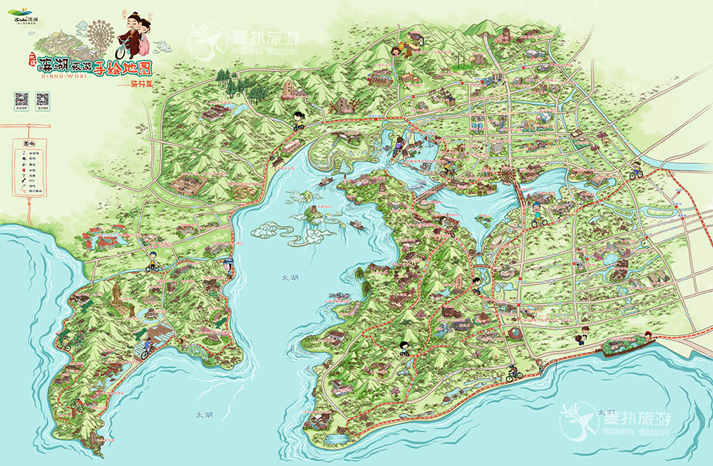 滨湖旅游手绘地图-骑行篇