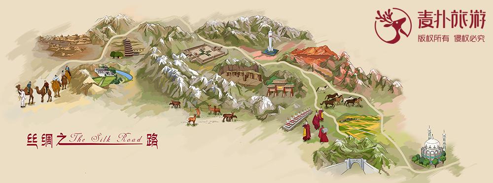丝绸之路手绘地图